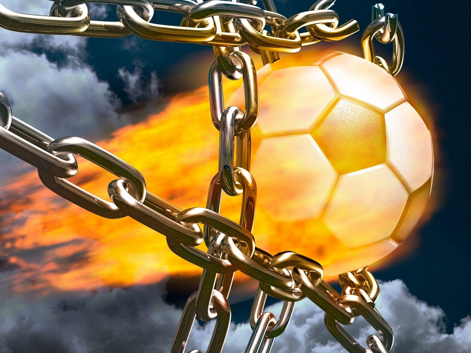 soccer ball, tearing the chain ..