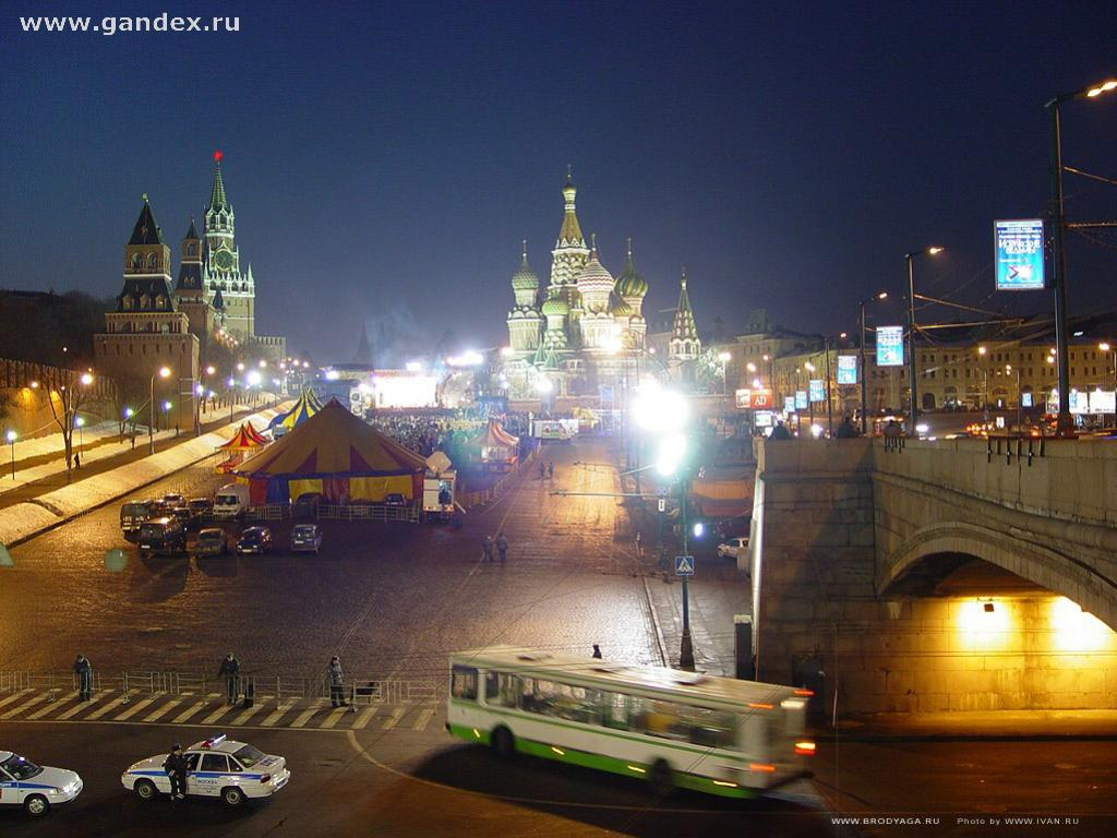 Moscow, night concert at the Kremlin Square, photo wallpaper