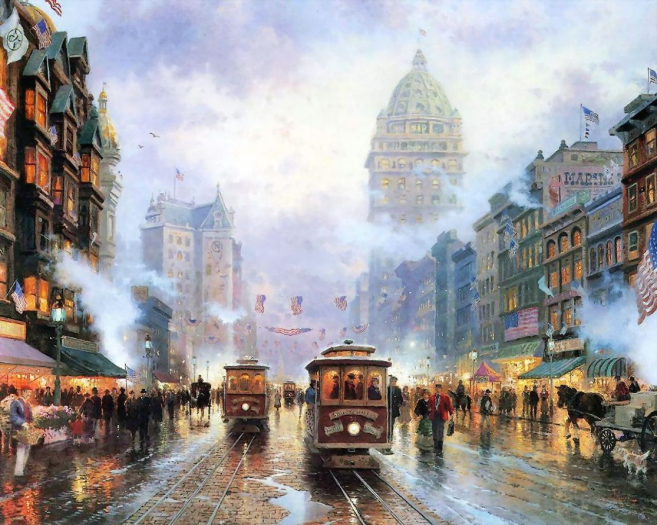 Thomas Kinkade - a city with American flags